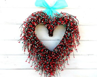 Valentines Day Wreath- Wedding Heart Wreath-Wedding Decoration-Wedding Decor-Say I LOVE YOU-Gift for Mom-Wedding Gift-Valentines Decor
