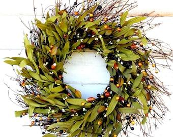 Fall Wreath-Autumn Wreath-FALL Door Wreath-Halloween Wreath-Rustic Wreath-Fall Home Decor-Fall Farmhouse Decor-Fall Home Decor-Candy Corns