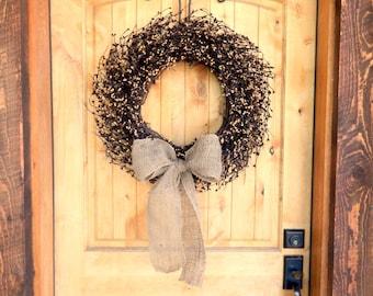 Fall Wreath-Fall Decor-BURLAP Black & Tan Wreath-LARGE Grapevine Wreath-Fall Door Wreath-Autumn Wreath-Primitive Home Decor-Custom Made USA