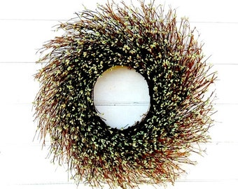 Fall Wreath-Winter Door Wreath-Rustic TWIG Wreath-GREEN Wreath-Christmas Wreath-Farmhouse Home Decor-Housewarming Gift-Scented Wreath-Gifts