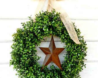 Boxwood Wreath-Farmhouse Wreath-Fall Wreath-Primitive Star Wreath-Western Country Primitive Home Decor-Housewarming Gift-Scented Wreath