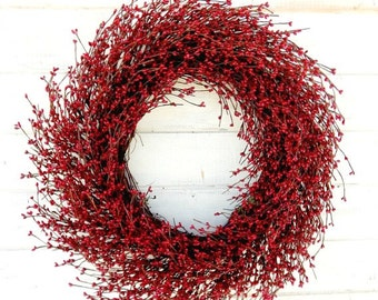 Valentine Wreath-LARGE Red Wreath-Valentines Day Decor-Mantle Wreath-Winter Wreath-Holiday Home Decor-Rustic Home Decor-Patriotic Wreath