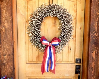 Summer Wreath-4th of July Wreath-Large Patriotic Wreath-Holiday Home Decor-White Berry Wreath-Rustic Home Decor-Custom Scented Wreaths
