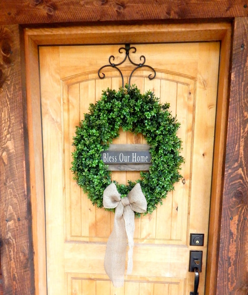 Boxwood Wreath-Winter Wreath-Christmas Gift-Fall Door Wreath-Year Round Wreath-BLESS OUR HOME-Farmhouse Wreath-Housewarming Gift-Door Wreath
