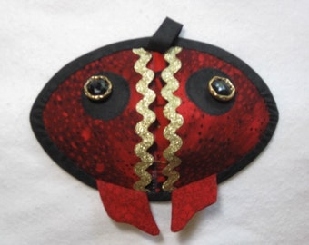 Red, Black, and Gold Fish Hot Pads