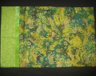 Pillowcase: Green Ferns and Elephants