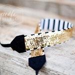 Sequin Camera Strap- Gold Black and White Stripe