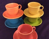 Fiesta Lead Free Cups and Saucers Modern Colors