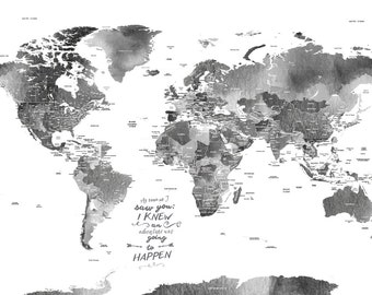 World map guestbook etsy watercolor worldmap gray map 24x36 inches world travel honeymoon vacation art travel map wedding guestbook gift for traveler gumiabroncs Image collections