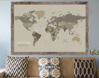 Large Framed Map Of The World.Large World Map Etsy