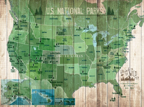 US National Parks Map Map with Quote Gift for hiker Paper | Etsy