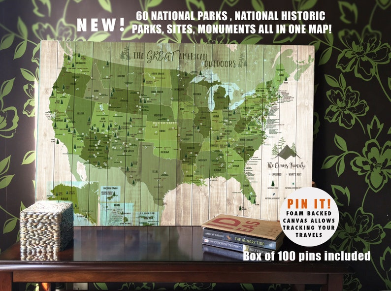 National Park System Push Pin Canvas National Parks of USA | Etsy