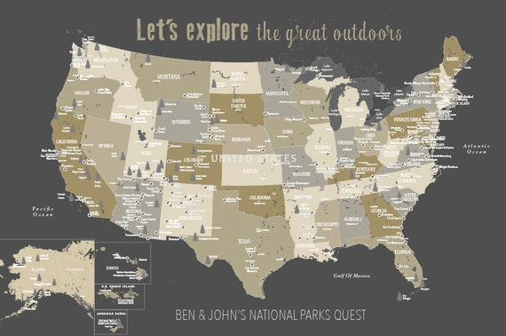 National Park, Push Pin Map, National park Art, Rustic Decor, Park and Rec,  National Park Gift for Dad, Adventure Awaits