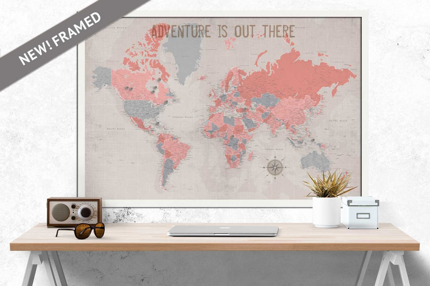 Detailed World Map Large Map FRAMED Push Pin Map 24X36
