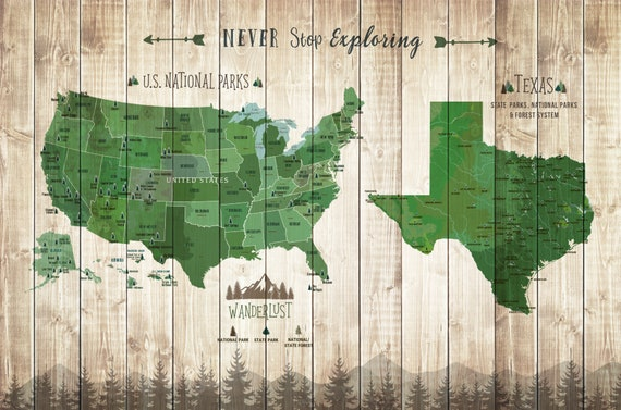 National Park And Texas State Parks Map Texas Gifts State Etsy