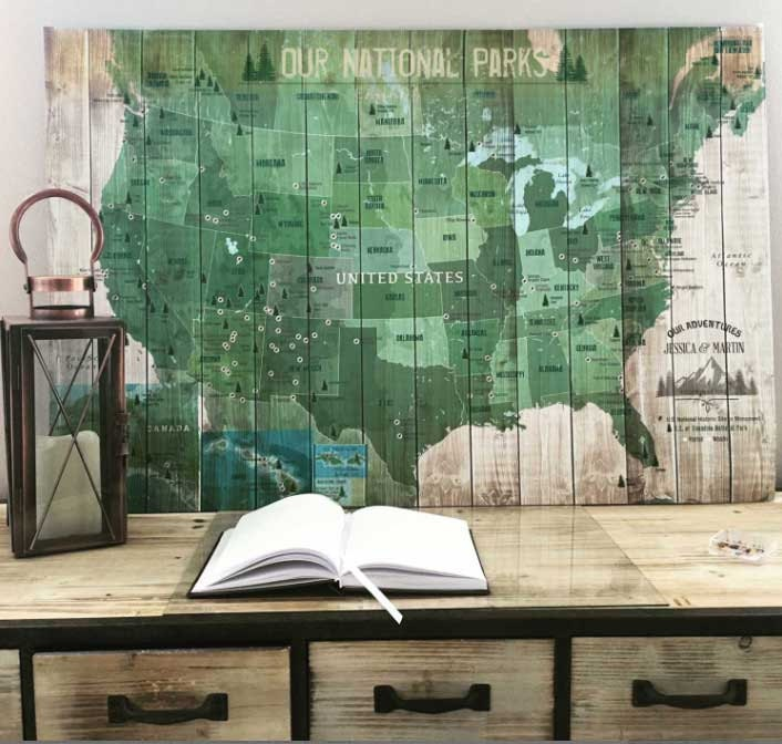 National Park Map with Pins Foam Mounted USA Parks Hiking | Etsy