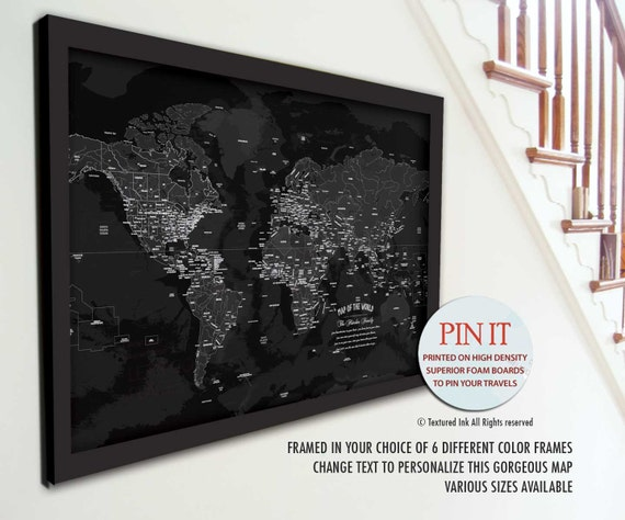 Black And White World Map Framed.World Map Push Pin Framed Map Black And White World Travel Etsy