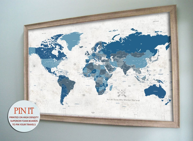 World Map Framed World Map Push Pin Maps World Travel Etsy