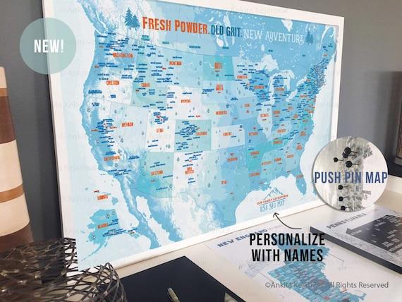 Ski Decor Push Pin Maps Ski Areas Gift For Snowboarder Usa Etsy