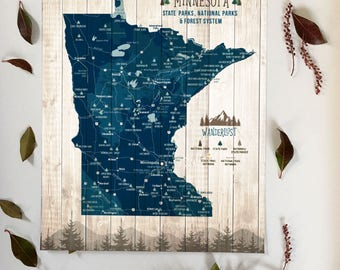 Minnesota Gifts, Minnesota Wilderness gifts, State parks poster map, Minnesota State Park Gifts, Personalized map, parks and rec, decor MN