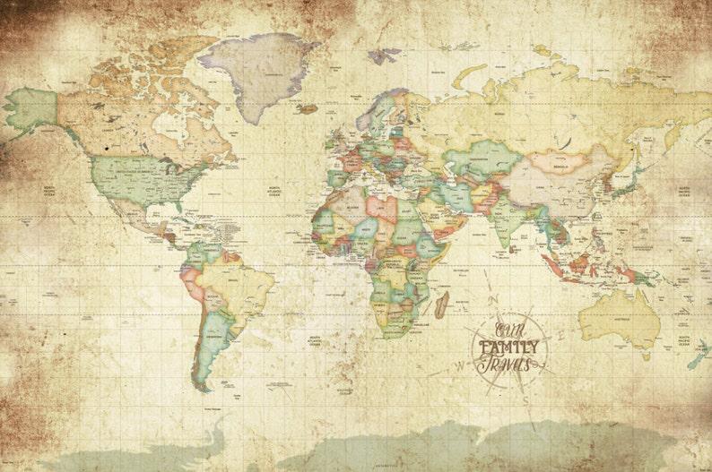 Art World Map Antique Vintage Style Poster Wall Decoration Art Print ...