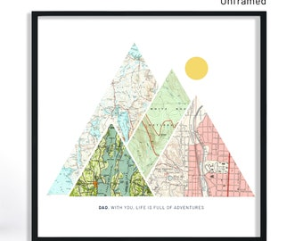 Dad Gifts From Daughter, Dad Gift From Daughter, Dad Birthday Gift from Daughter, Mountain Art, Many Sizes, Paper Print, Christmas Gift