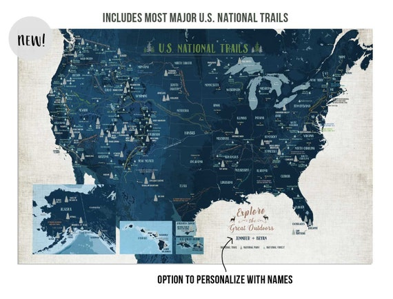 National park with Trails, USA Trails Map, National park map, USA Parks,  Hiker gift, Push pin board, US adventure decor, Nature Lover Gift