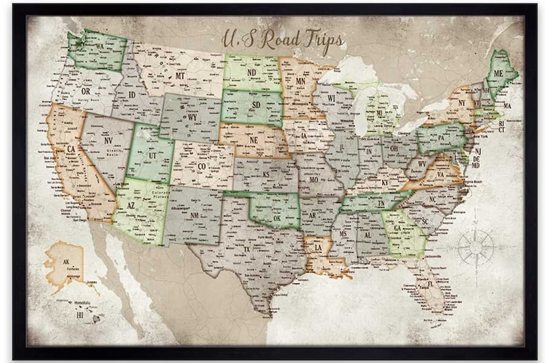 USA Road trips Map of USA Road Maps Push Pin USA Map Push | Etsy