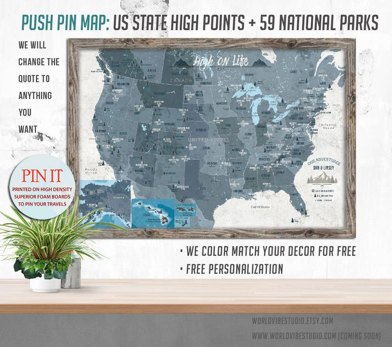 High Points Map of US US Map Highpointing Mountain climber   Etsy