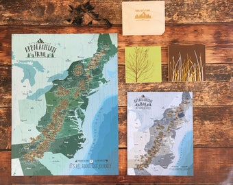 Appalachian Trail Map, Hiking map, Outdoor adventure map, Appalachian mountain, Rustic Decor, Wilderness wall art, Hiker dad gift