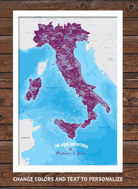Wine Regions Italy Map.Italy Map With Wine Regions Wine Poster Italy Wine Map 5th Etsy