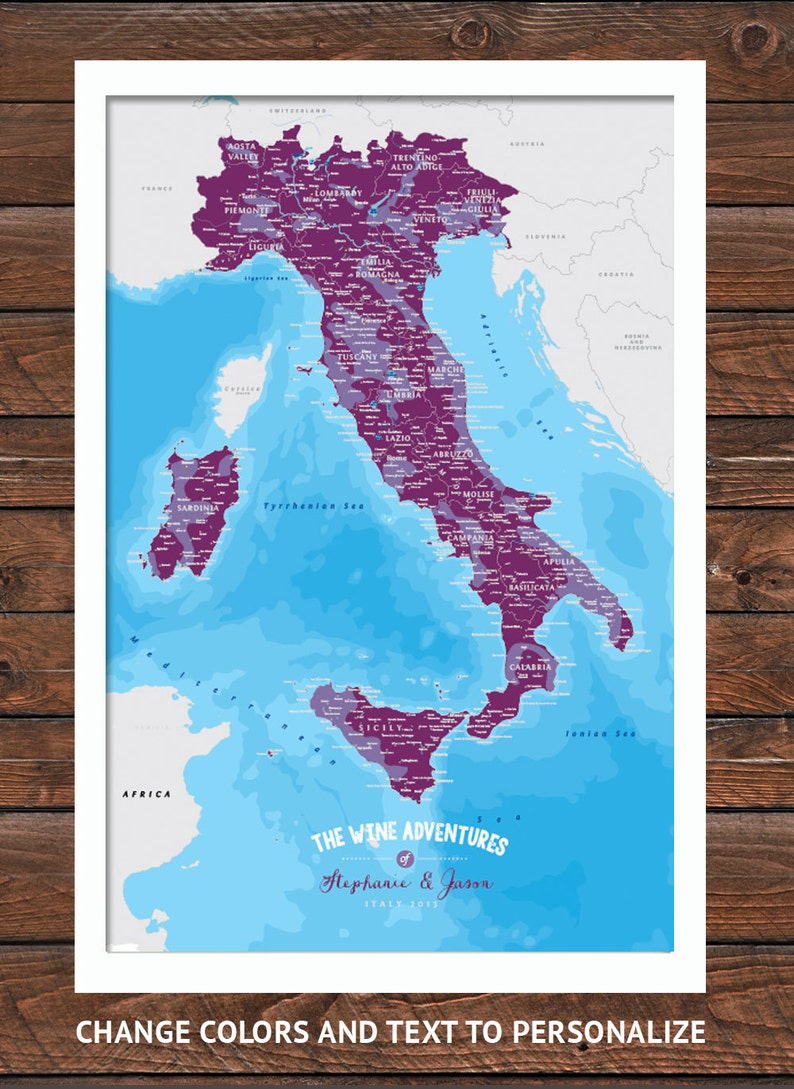 Italy Map with Wine Regions, Wine Poster, Italy Wine Map, 5th Anniversary,  Italy Honeymoon, Gift for wife, Italian Wedding, Tuscany art