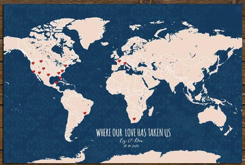 Cotton Anniversary Gift Push Pin World Map Custom World Map | Etsy