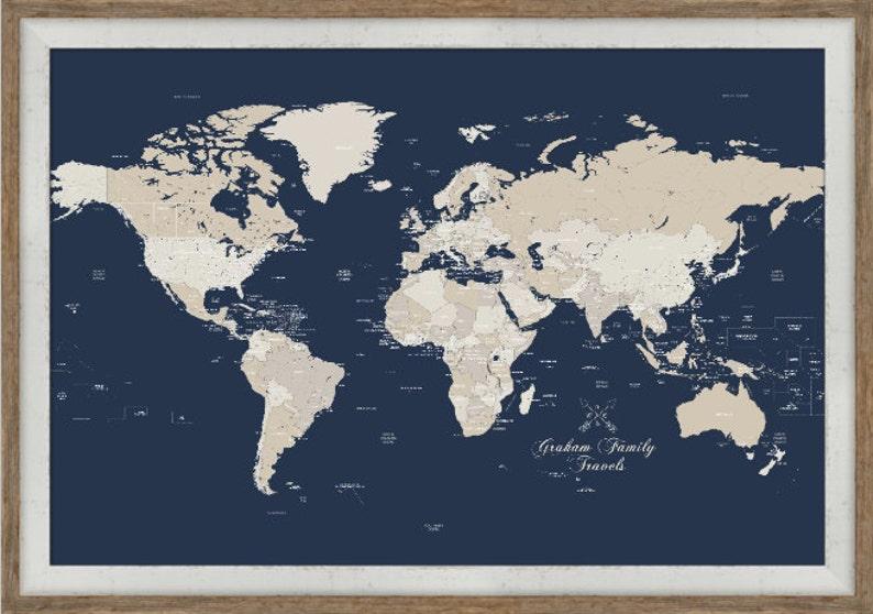 Push Pin Maps Push Pin Travels Framed World Map Map Framed Etsy