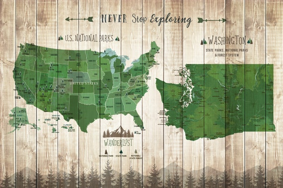 National Parks In Washington State Map.Washington State Park National Park Map Wa Gifts Washington Etsy
