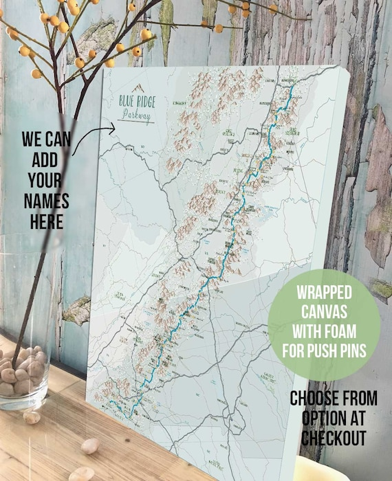 Blue Ridge Mountain Wall Art Blue Ridge Parkway Map Trail Map Push Pin Canvas Canvas With Push Pins Nature Lover Gift Canvas Wall Art