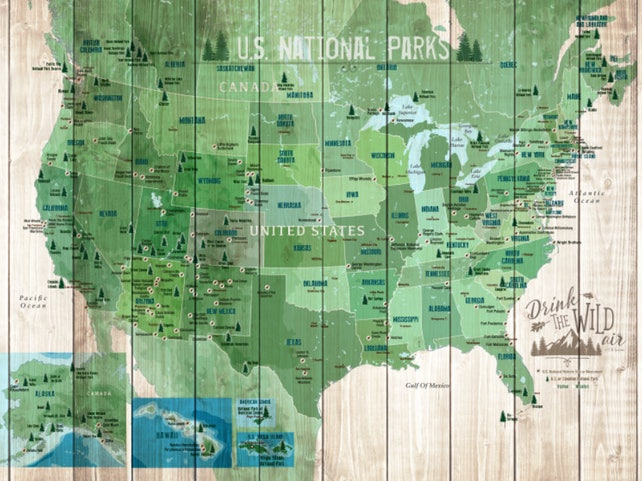 National Park National park map USA Parks Hiking Map Gift | Etsy