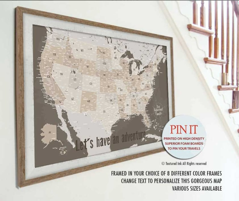 USA Map Push Pin Board of America, Poster USA, USA Detailed Map, Push Pin,  Customizable Pin Board Framed, Largest Map 40X60, Neutral wall