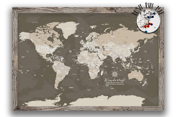 Rustic world map, Push Pin Map, Framed world map, 5 years together, Paper  Anniversary, Push Pin Travel Map, Vintage style map, Custom 40X60