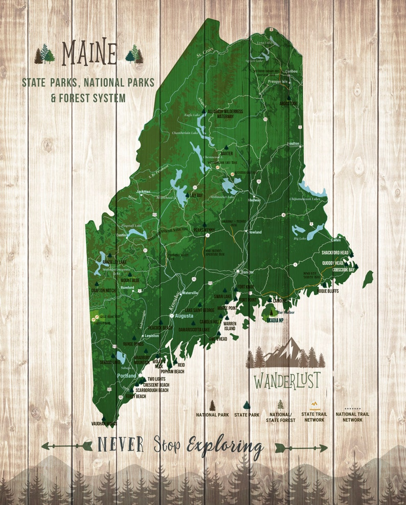 Maine gifts, Maine Art, Maine Map, State Park, Maine State print, Park  Checklist, Hiking trails, parks and recreation, Push Pin board, ME