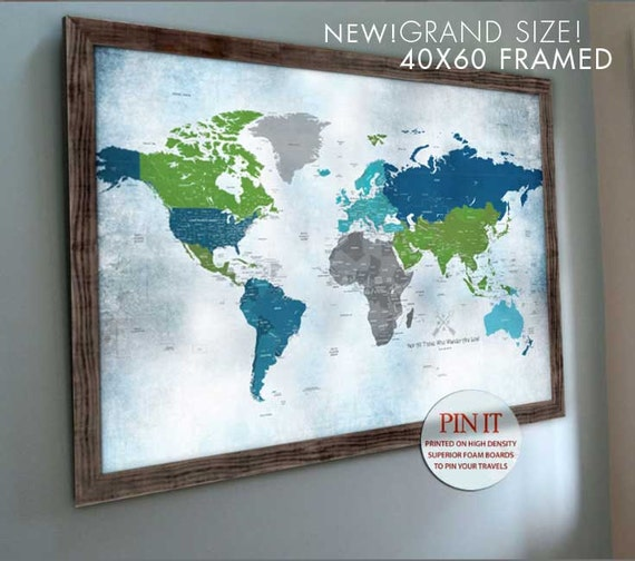 Push Pin travel map, Push Pin World map, Frame Push Pin Map Huge world map  Extra Large Push Pin Map 40X60 Inches Blue and green Wedding maps