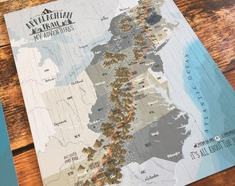 Push Pin Board, Appalachian Trail, Map for Push Pins, Appalachian Map, Gift for Brother, Push Pin Map, Appalachian decor, Thru Hiker