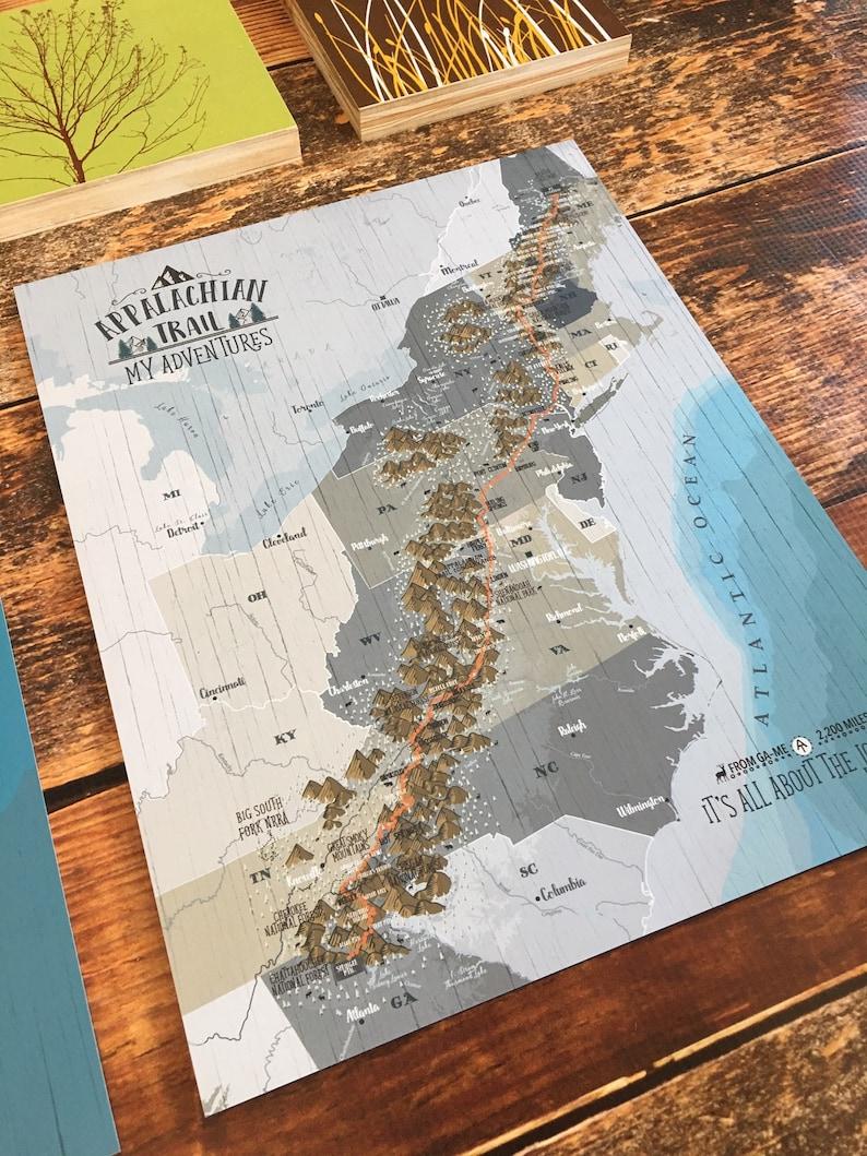 Appalachian Trail, Appalachian Map, Push Pin Board, Map for Push Pins, Gift  for Brother, Push Pin Map, Appalachian decor, Thru Hiker gift
