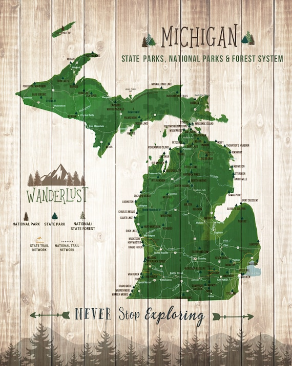 Michigan State Gift State Parks Map Michigan Wall Art State Etsy