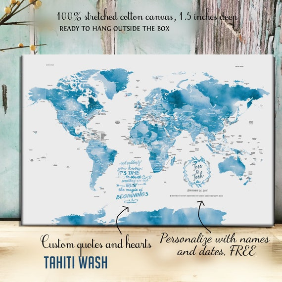 Push Pin Canvas Map, Foam backed Cotton Canvas, Cotton Gift, World map  guestbook, Cotton Anniversary Gift, Watercolor map, Push Pin World