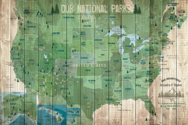 National Parks Poster, USA Parks, 30X45 Inches, Hiking Map, Gift for hiker,  US Heritage Map, American Parks and recreation