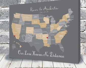 Cotton Anniversary Gift for Her | Anniversary map | 2nd Anniversary Gift | Gift for Wife | Traditional Gift, Map with hearts, USA Map