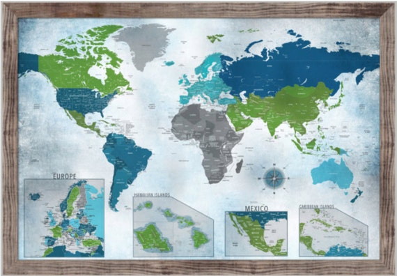 53a5725906f0a Framed World map with insets Retirement Gift Push Pin