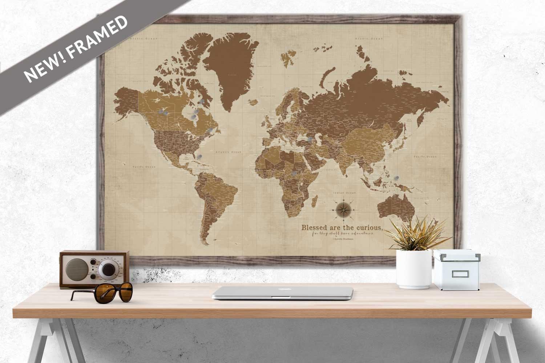 Custom world map large map sepia framed push pin map etsy zoom gumiabroncs Choice Image