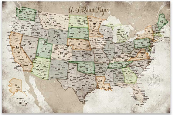 USA Road trips, Map of USA, Road Maps, Push Pin USA Map, Push Pin Map,  Framed Push Pin map, office maps, Travel Gift for mom, map for Rv